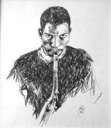 Ornette Coleman bic sur papier 20x20-2008