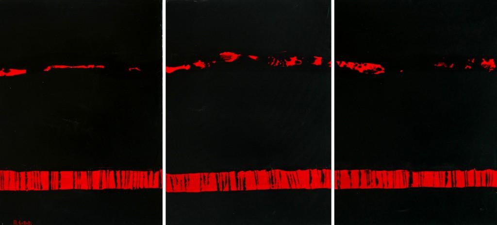 Coquelicots Fauchés acrylique sur toile 80x180 25-3-2009